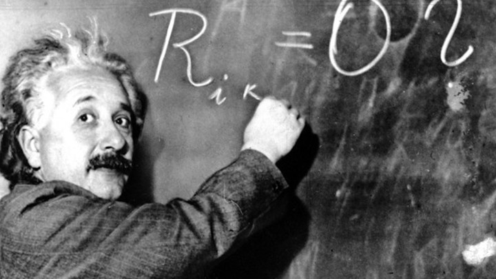 Albert Einstein Writing On a Chalckboard